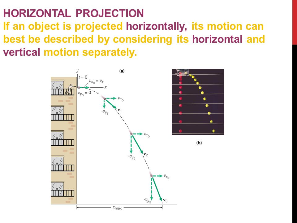 HORIZONTAL PROJECTION If an object is projected horizontally, its motion can best be described by considering its horizontal and vertical motion separ