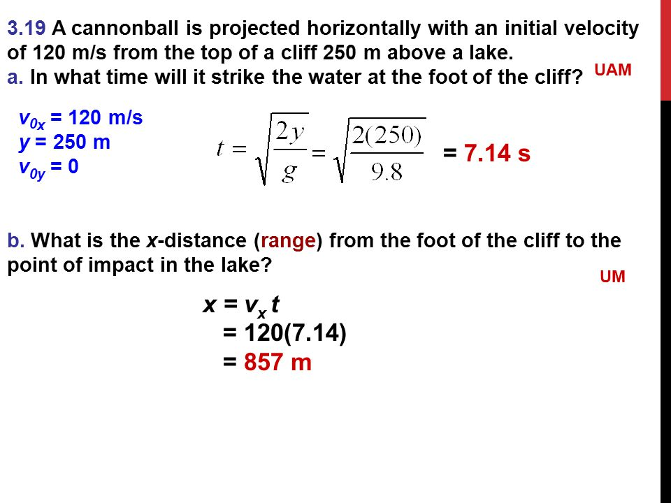 3.19 A cannonball is projected horizontally with an initial velocity of 120 m/s from the top of a cliff 250 m above a lake. a. In what time will it st