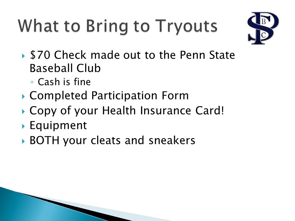  $70 Check made out to the Penn State Baseball Club ◦ Cash is fine  Completed Participation Form  Copy of your Health Insurance Card!  Equipment 