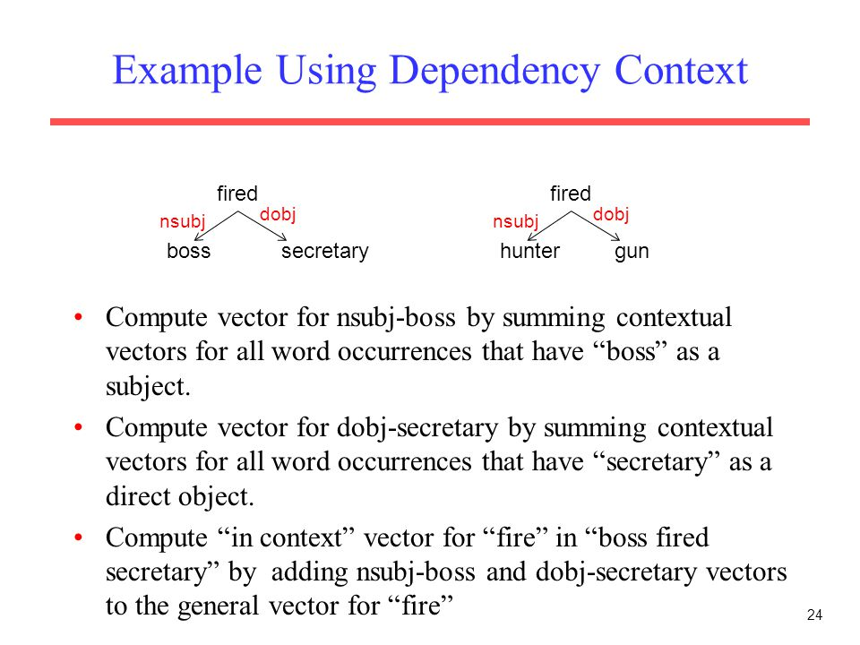Example Using Dependency Context 24 fired huntergun nsubj dobj fired bosssecretary nsubj dobj Compute vector for nsubj-boss by summing contextual vectors for all word occurrences that have boss as a subject.