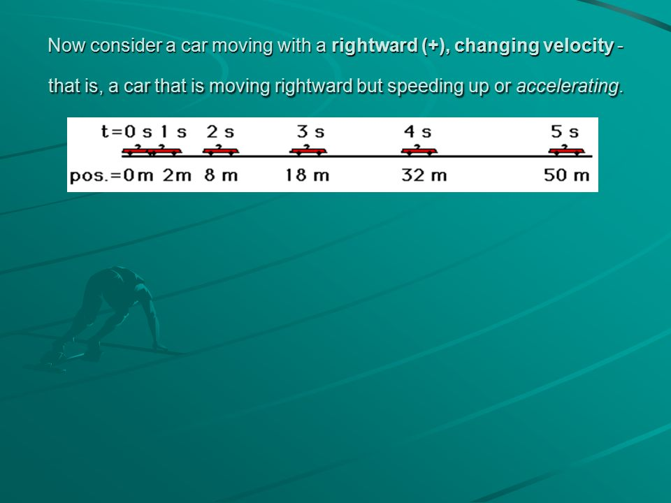 Now consider a car moving with a rightward (+), changing velocity - that is, a car that is moving rightward but speeding up or accelerating.