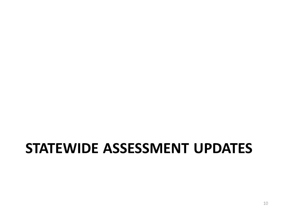 STATEWIDE ASSESSMENT UPDATES 10