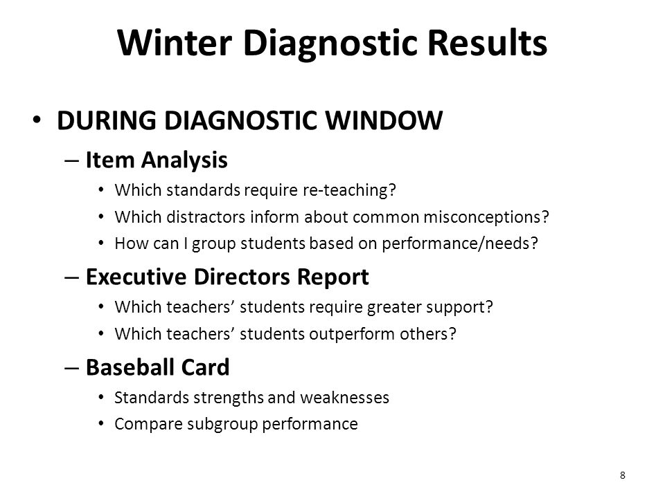Winter Diagnostic Results DURING DIAGNOSTIC WINDOW – Item Analysis Which standards require re-teaching.