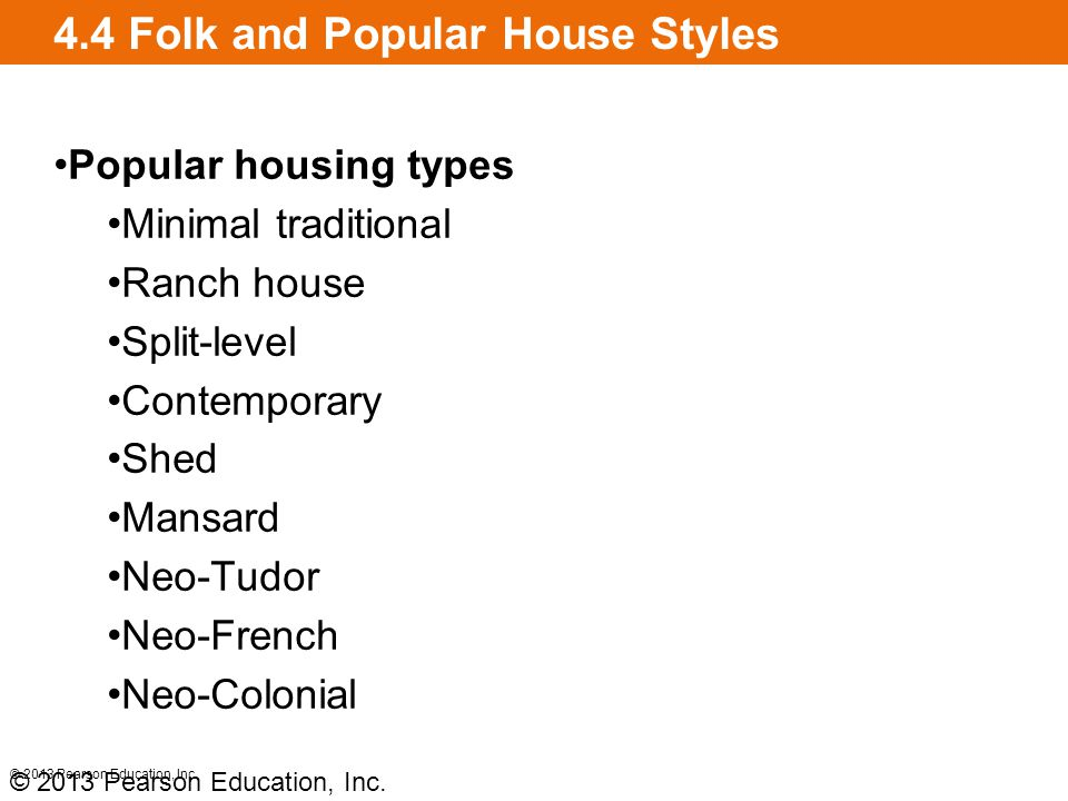 4.4 Folk and Popular House Styles Popular housing types Minimal traditional Ranch house Split-level Contemporary Shed Mansard Neo-Tudor Neo-French Neo