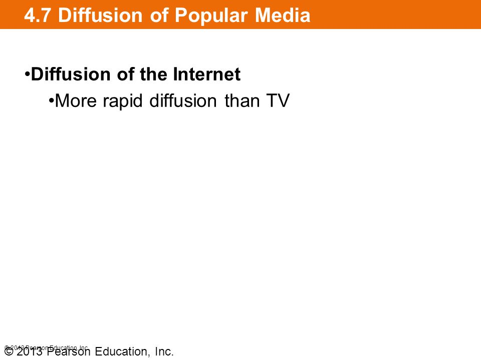 4.7 Diffusion of Popular Media Diffusion of the Internet More rapid diffusion than TV © 2013 Pearson Education, Inc.