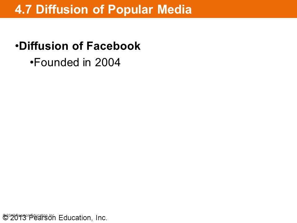 4.7 Diffusion of Popular Media Diffusion of Facebook Founded in 2004 © 2013 Pearson Education, Inc.