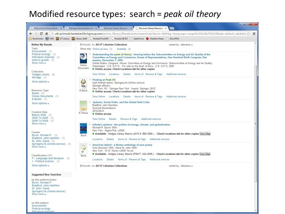 Modified resource types: search = peak oil theory