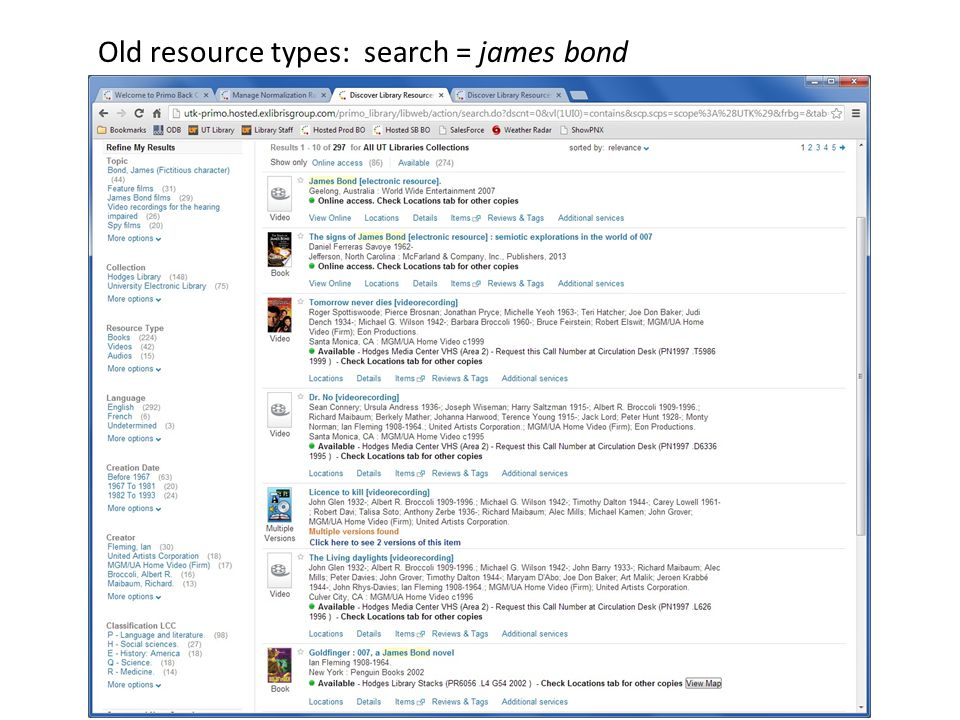 Old resource types: search = james bond