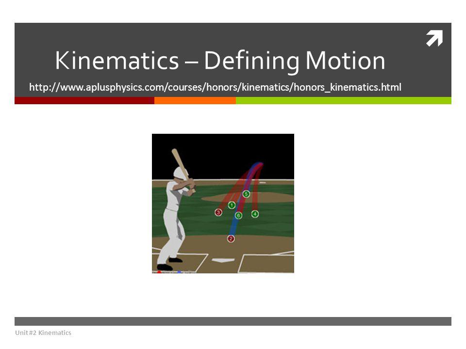  Kinematics – Defining Motion http://www.aplusphysics.com/courses/honors/kinematics/honors_kinematics.html Unit #2 Kinematics