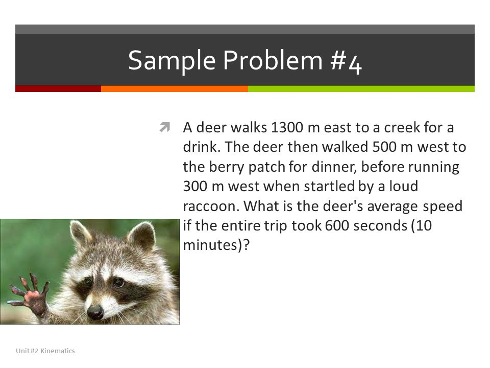 Sample Problem #4  A deer walks 1300 m east to a creek for a drink. The deer then walked 500 m west to the berry patch for dinner, before running 300