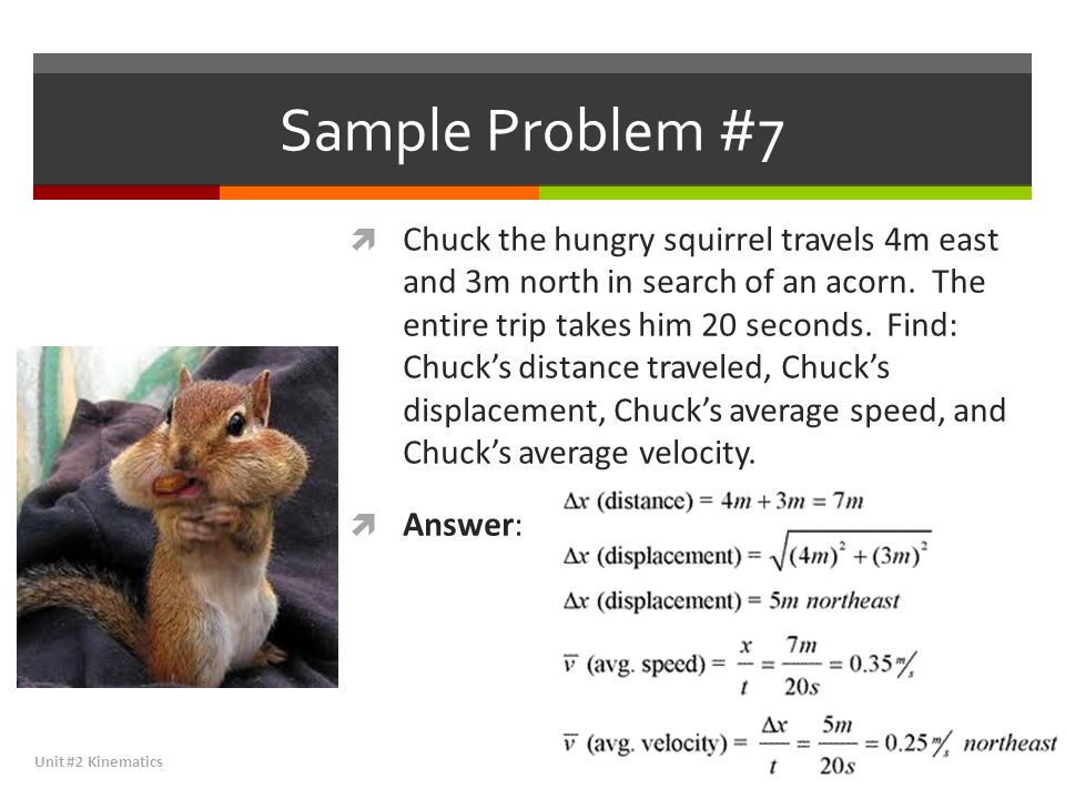 Sample Problem #7  Chuck the hungry squirrel travels 4m east and 3m north in search of an acorn. The entire trip takes him 20 seconds. Find: Chuck's