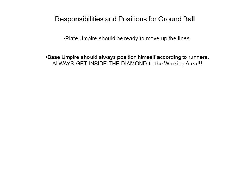 Responsibilities and Positions for Ground Ball Plate Umpire should be ready to move up the lines. Base Umpire should always position himself according
