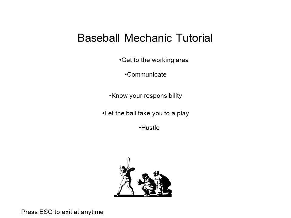 Baseball Mechanic Tutorial Communicate Know your responsibility Let the ball take you to a play Get to the working area Hustle Press ESC to exit at anytime