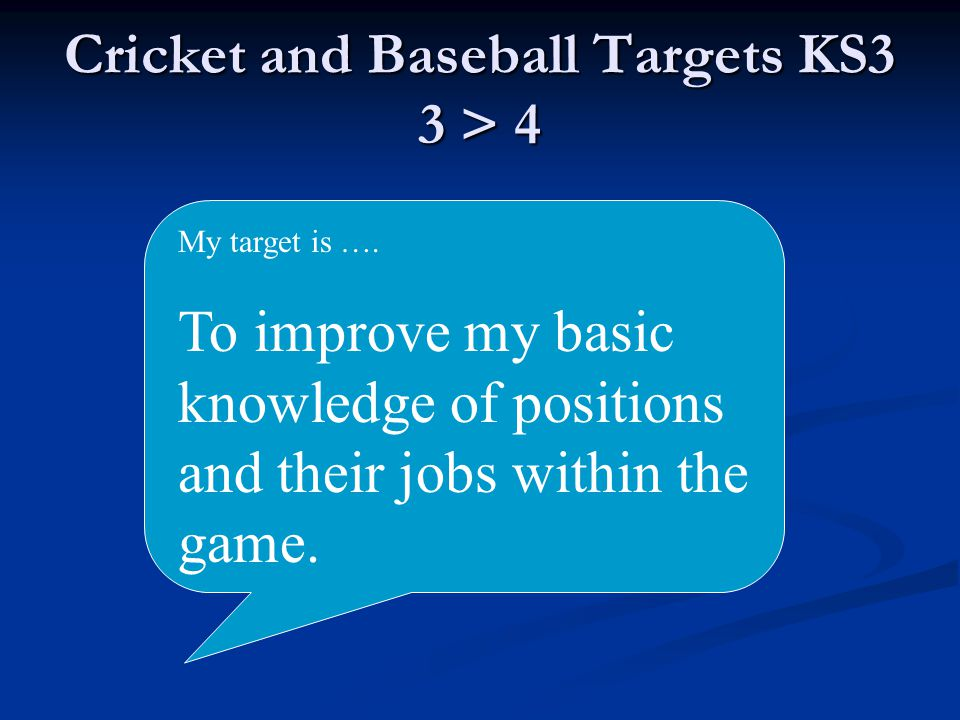Cricket and Baseball Targets KS3 3 > 4 My target is ….