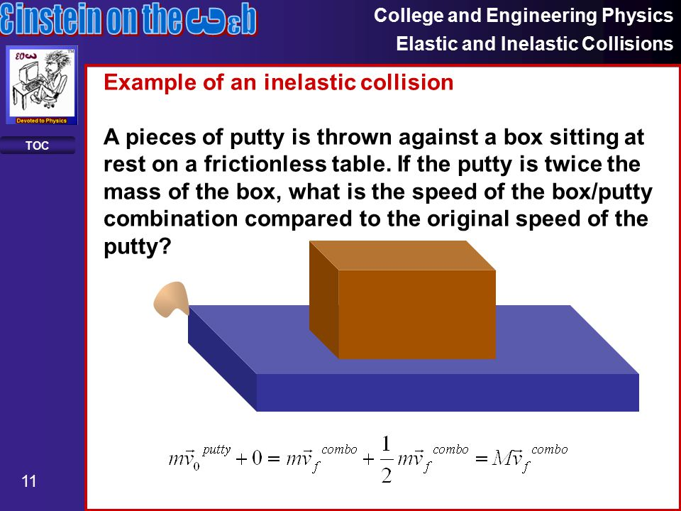 College and Engineering Physics Elastic and Inelastic Collisions 11 TOC Example of an inelastic collision A pieces of putty is thrown against a box sitting at rest on a frictionless table.