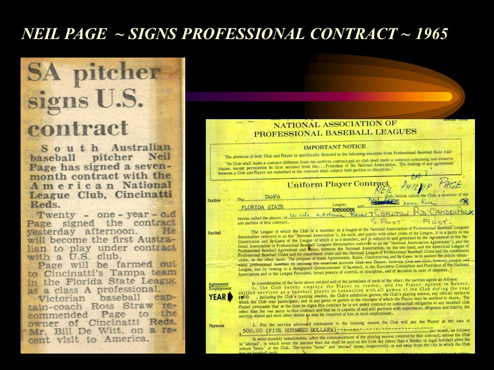 NEIL PAGE ~ SIGNS PROFESSIONAL CONTRACT ~ 1965
