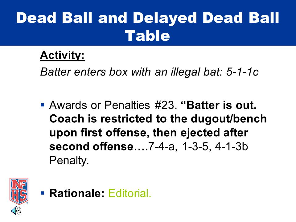 Dead Ball and Delayed Dead Ball Table Activity: Batter enters box with an illegal bat: 5-1-1c  Awards or Penalties #23.