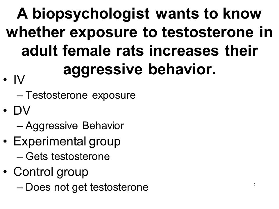 2 A biopsychologist wants to know whether exposure to testosterone in adult female rats increases their aggressive behavior. IV –Testosterone exposure