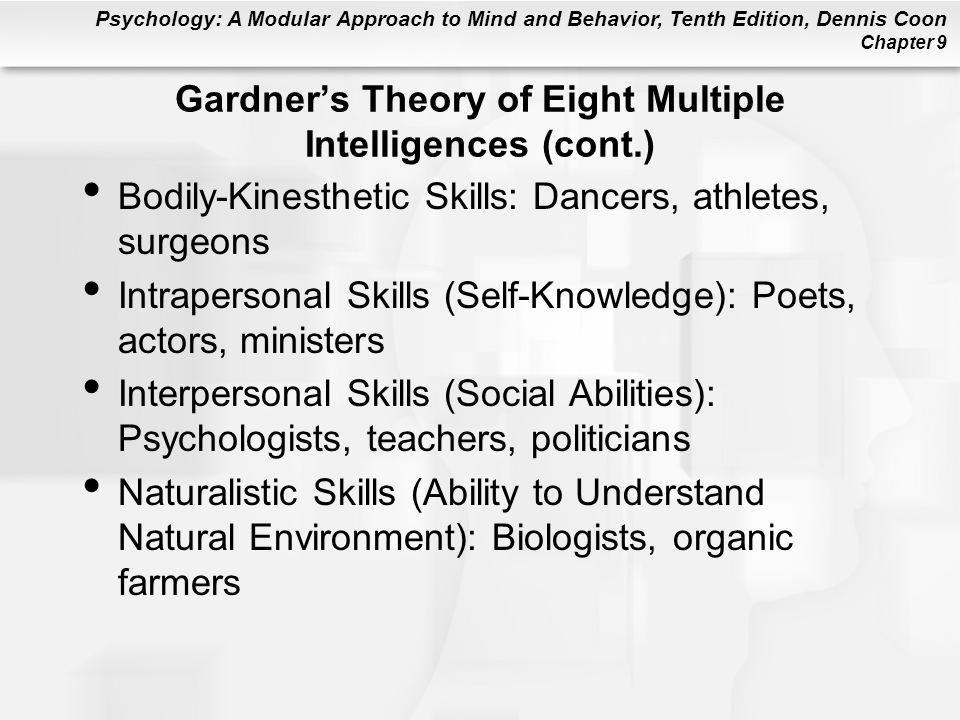 Psychology: A Modular Approach to Mind and Behavior, Tenth Edition, Dennis Coon Chapter 9 Gardner's Theory of Eight Multiple Intelligences (cont.) Bod
