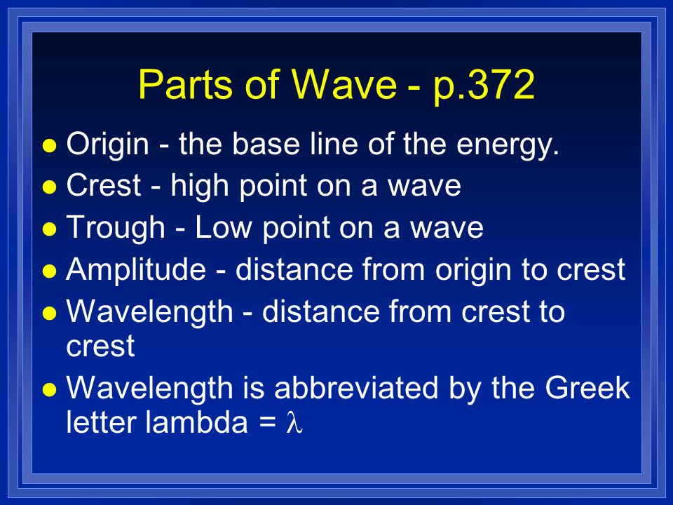 Parts of Wave - p.372 l Origin - the base line of the energy.