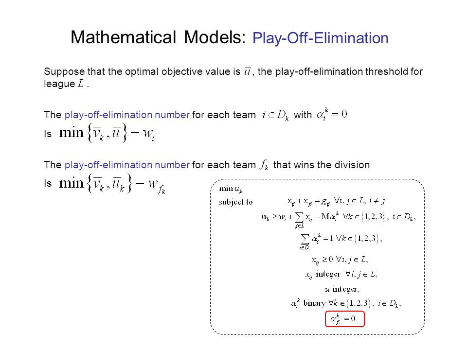 Mathematical Models: Play-Off-Elimination Suppose that the optimal objective value is, the play-off-elimination threshold for league.