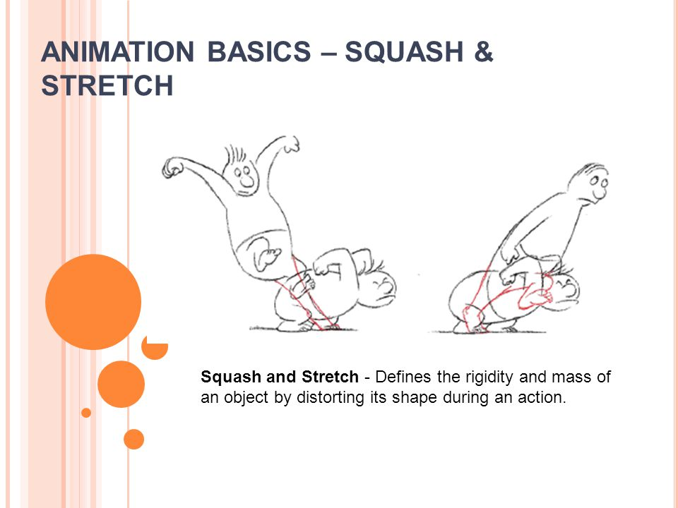 ANIMATION BASICS – SQUASH & STRETCH Squash and Stretch - Defines the rigidity and mass of an object by distorting its shape during an action.