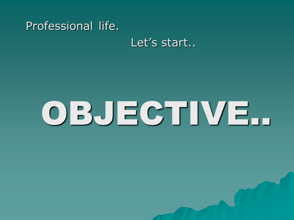 Professional life. Professional life. Let's start.. Let's start.. OBJECTIVE.. OBJECTIVE..