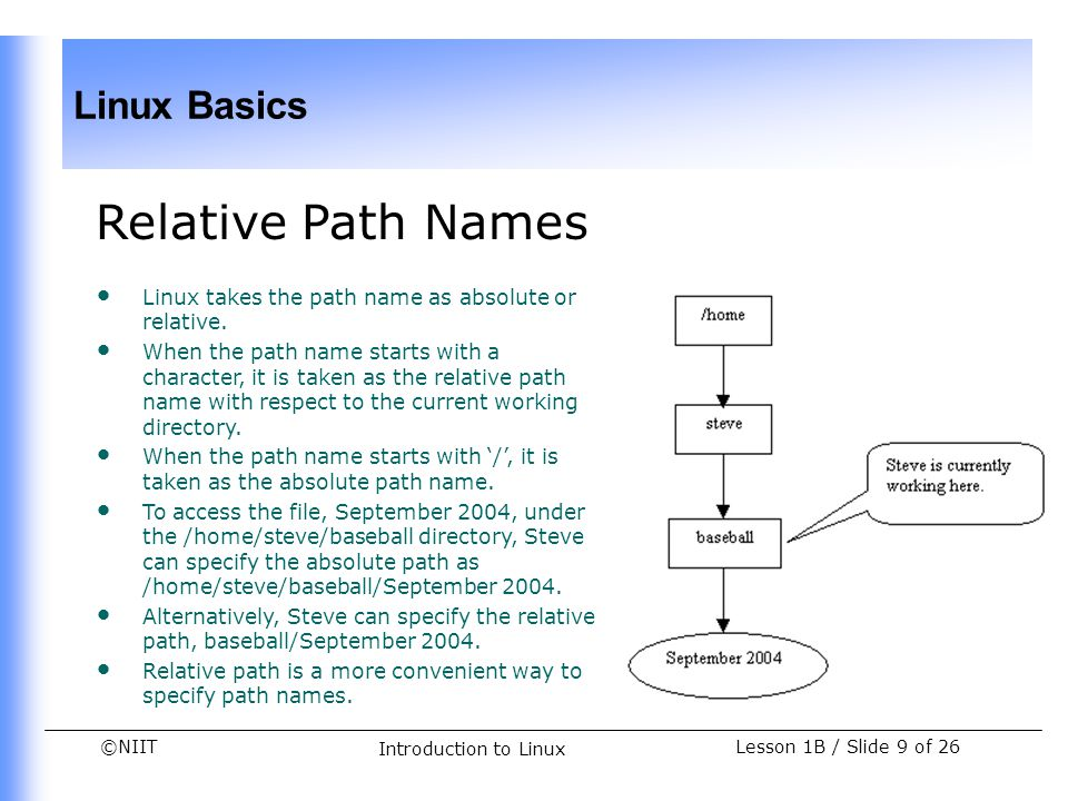 ©NIIT Linux Basics Lesson 1B / Slide 10 of 26 Introduction to Linux Types of Files in Linux All information, including devices, is treated as a file in Linux.