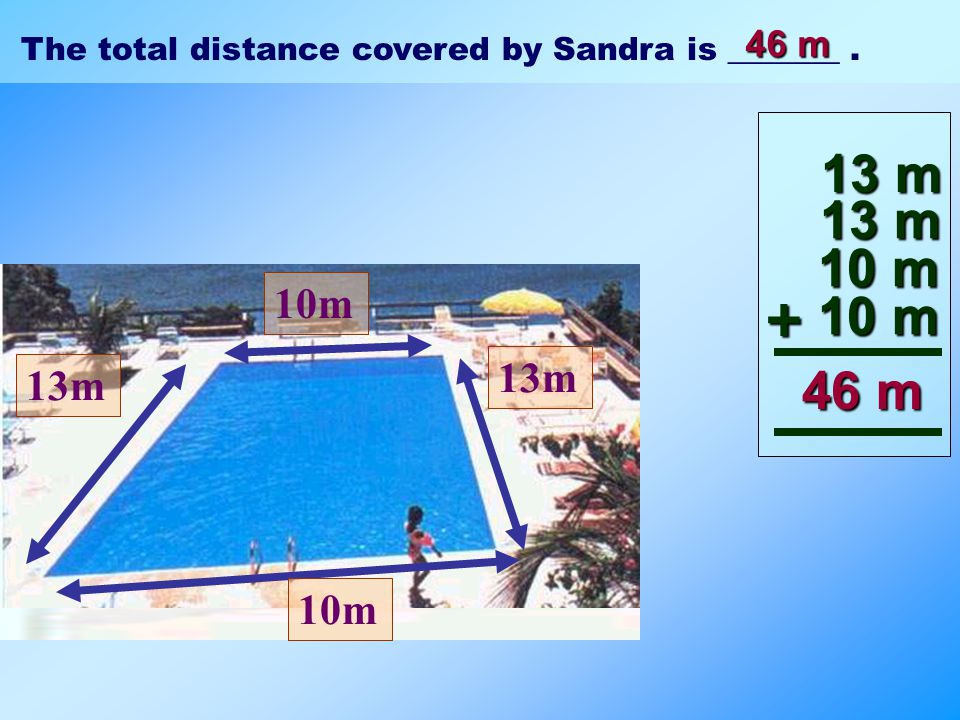 10m 13m 10m Sandra swam around a rectangular pool. That is the total distance covered by Sandra