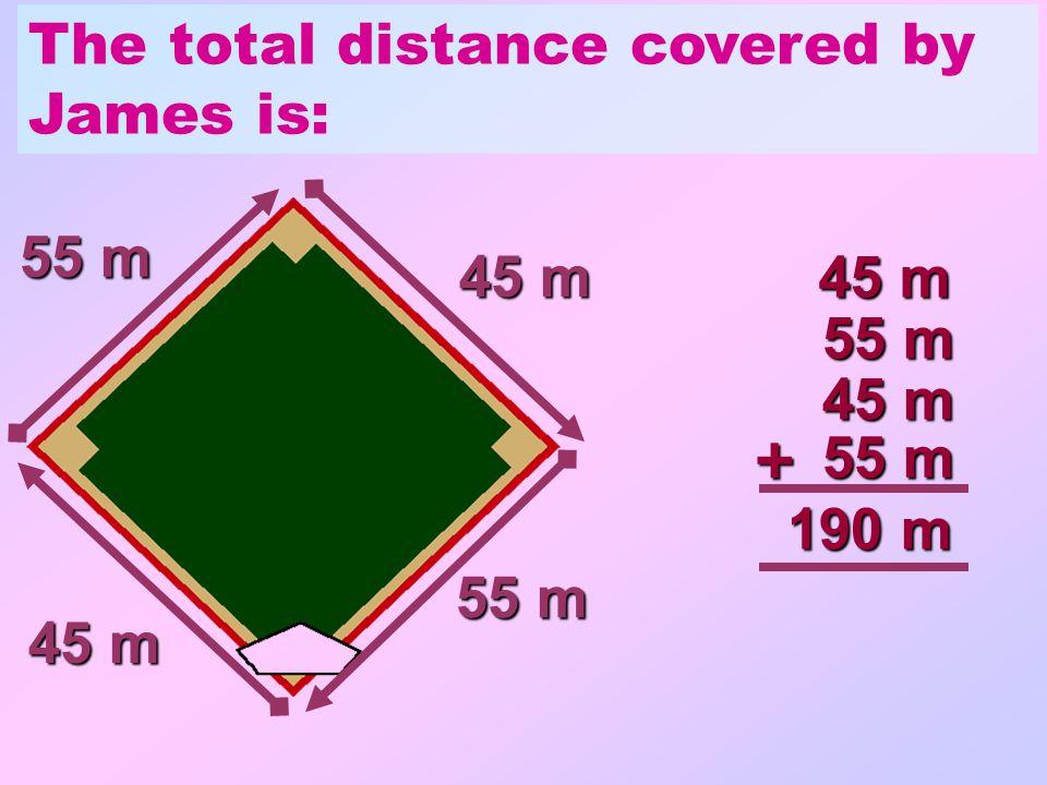 James walked around the baseball pitch. 45 m 55 m