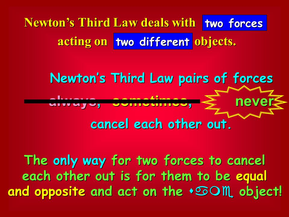 Newton's Third Law deals with acting on objects.