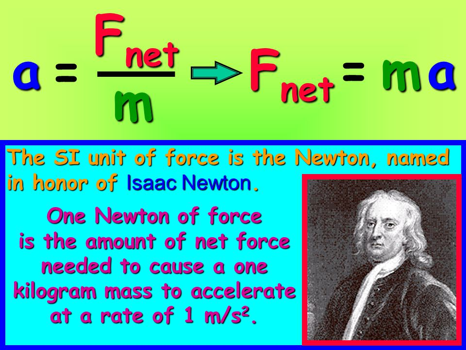 Weight a measure of the gravitational force that a massive object, such as a star or planet, puts on another mass F = ma F = ma weight = mass x acceleration of gravity W = mg An object's weight on planet Earth inNewtons An object's weight on planet Earth in Newtons is equal to itsmass in kilogramstimes9.8 m/s 2 is equal to its mass in kilograms times 9.8 m/s 2.