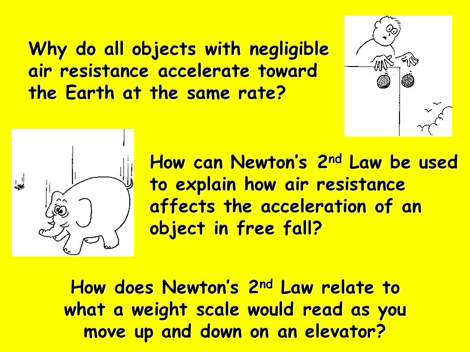 Why do all objects with negligible air resistance accelerate toward the Earth at the same rate.