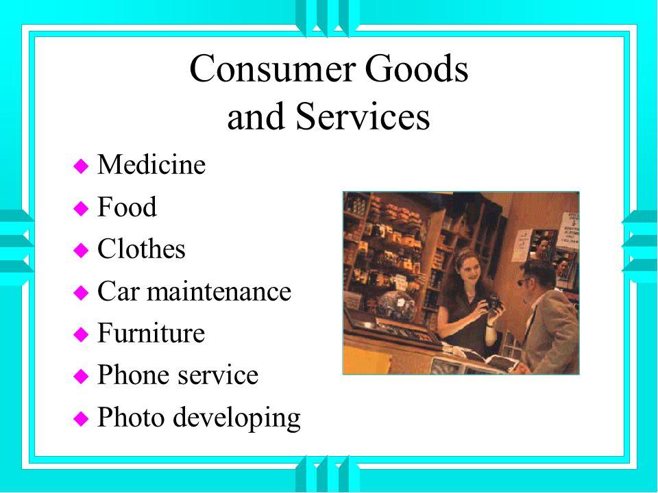 Consumer Goods and Services u Medicine u Food u Clothes u Car maintenance u Furniture u Phone service u Photo developing