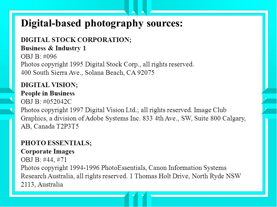 Digital-based photography sources: DIGITAL STOCK CORPORATION; Business & Industry 1 OBJ B: #096 Photos copyright 1995 Digital Stock Corp., all rights reserved.