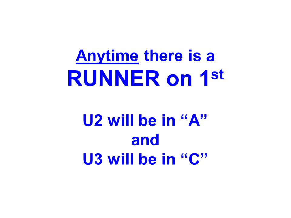 "Anytime there is a RUNNER on 1 st U2 will be in ""A"" and U3 will be in ""C"""