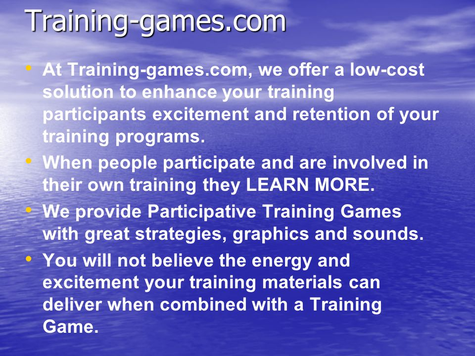 From Training Games, Inc. Games to Train Computer Solutions for Business and Corporate Training Quick Start Tutorial for using and playing the Excel T