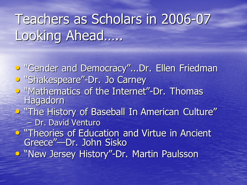 """""""Gender and Democracy""""...Dr. Ellen Friedman """"Gender and Democracy""""...Dr. Ellen Friedman """"Shakespeare""""-Dr. Jo Carney """"Shakespeare""""-Dr. Jo Carney """"Mathe"""