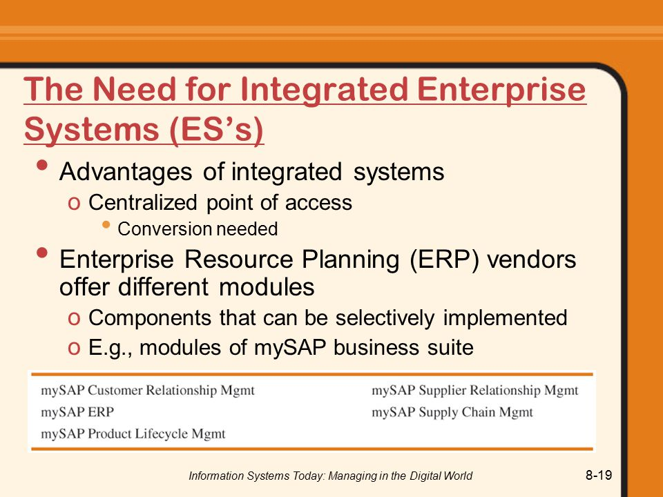 Information Systems Today: Managing in the Digital World 8-19 The Need for Integrated Enterprise Systems (ES's) Advantages of integrated systems o Centralized point of access Conversion needed Enterprise Resource Planning (ERP) vendors offer different modules o Components that can be selectively implemented o E.g., modules of mySAP business suite