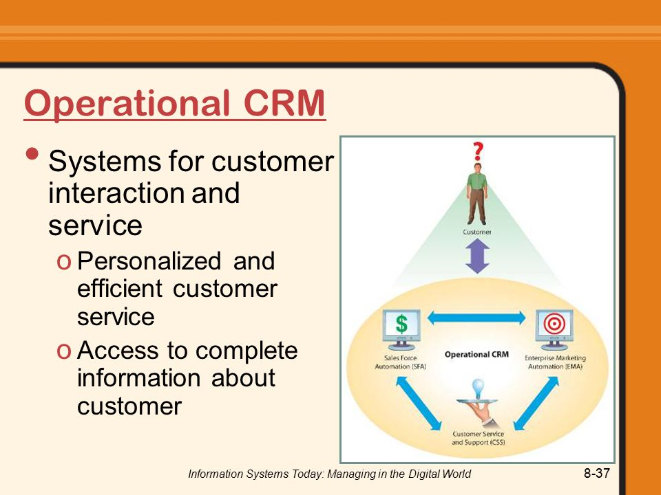 Information Systems Today: Managing in the Digital World 8-37 Operational CRM Systems for customer interaction and service o Personalized and efficient customer service o Access to complete information about customer