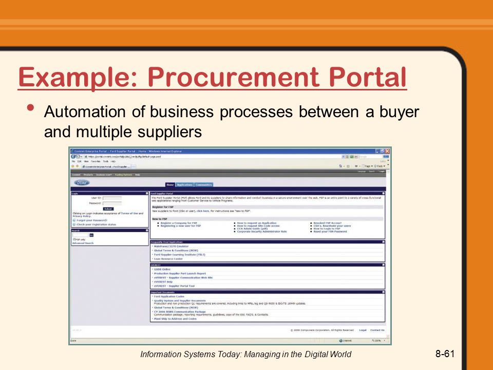 Information Systems Today: Managing in the Digital World 8-61 Example: Procurement Portal Automation of business processes between a buyer and multiple suppliers
