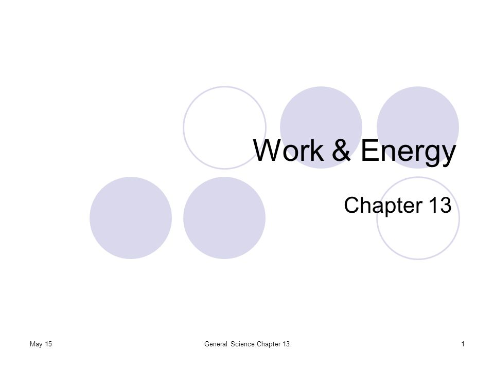 May 15General Science Chapter 131 Work & Energy Chapter 13