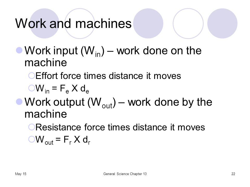 May 15General Science Chapter 1322 Work and machines Work input (W in ) – work done on the machine  Effort force times distance it moves  W in = F e