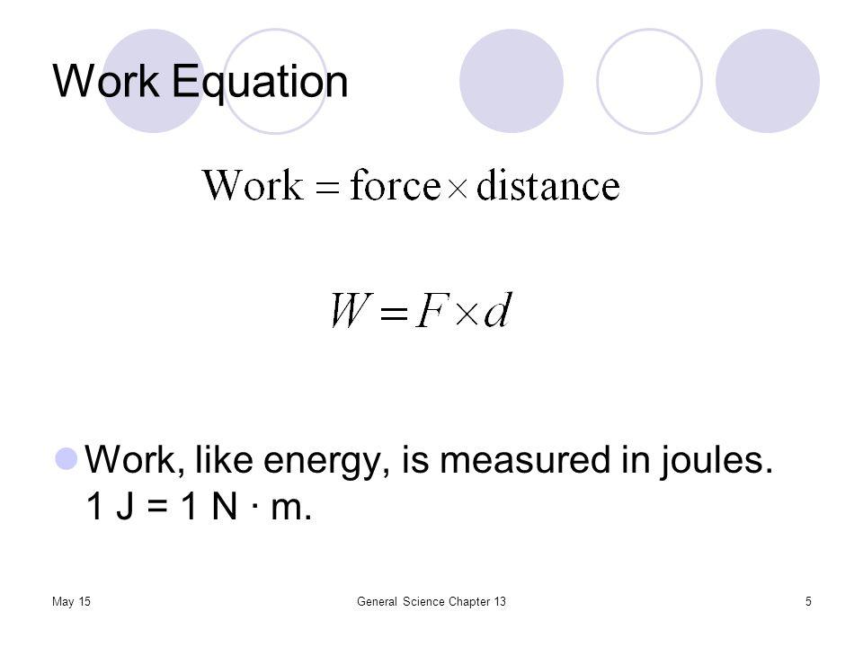 May 15General Science Chapter 135 Work Equation Work, like energy, is measured in joules. 1 J = 1 N ∙ m.