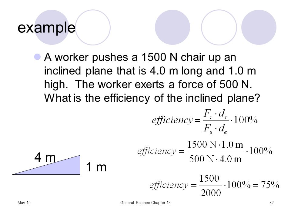 May 15General Science Chapter 1382 example A worker pushes a 1500 N chair up an inclined plane that is 4.0 m long and 1.0 m high. The worker exerts a