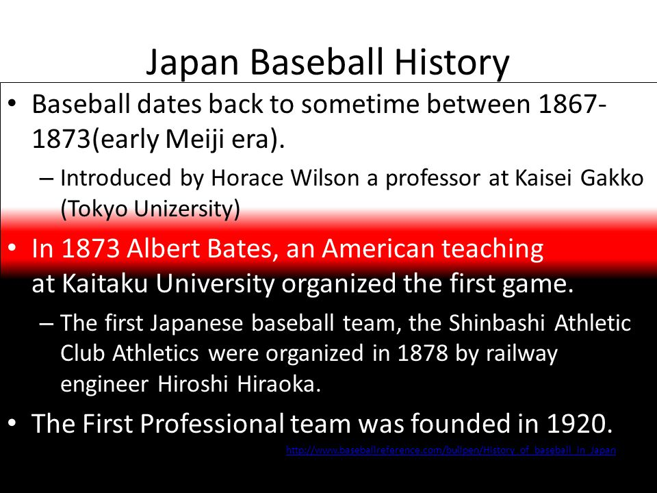 Japan Baseball History Baseball dates back to sometime between 1867- 1873(early Meiji era). – Introduced by Horace Wilson a professor at Kaisei Gakko