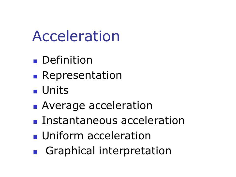 Acceleration Definition Representation Units Average acceleration Instantaneous acceleration Uniform acceleration Graphical interpretation