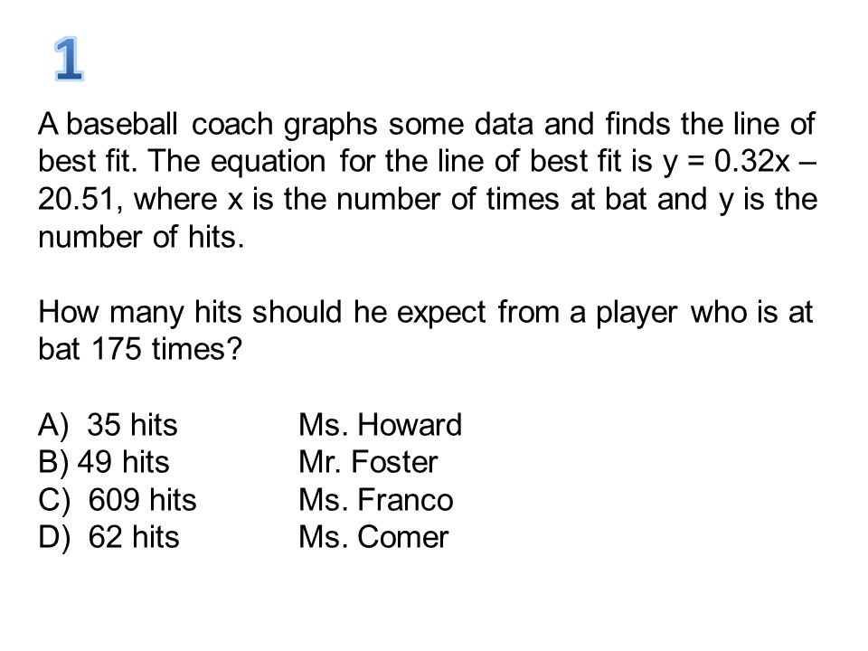 A baseball coach graphs some data and finds the line of best fit. The equation for the line of best fit is y = 0.32x – 20.51, where x is the number of