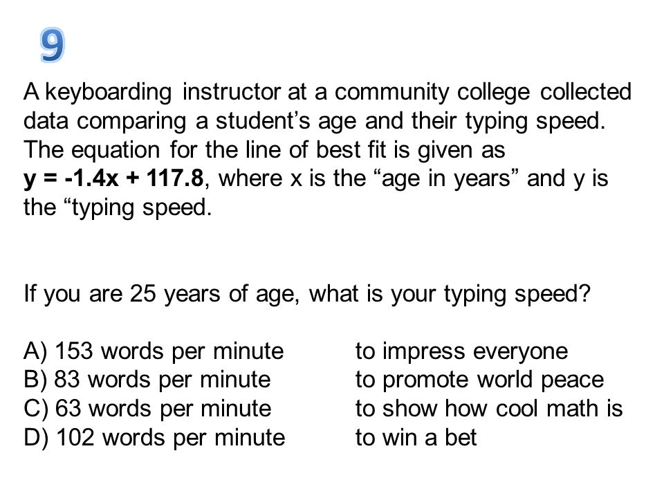 A keyboarding instructor at a community college collected data comparing a student's age and their typing speed. The equation for the line of best fit