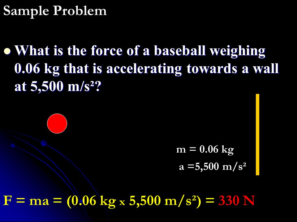 What is the force of a baseball weighing 0.06 kg that is accelerating towards a wall at 5,500 m/s²? What is the force of a baseball weighing 0.06 kg t